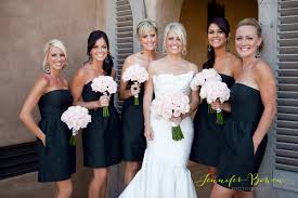 Pink And Black Bridesmaid Dresses Black Dresses With Pale Pink Flowers Guys In Tan Vest With Black
