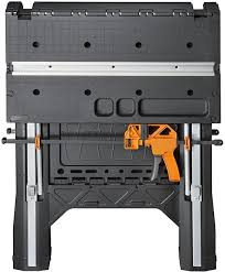 Keter Folding Work Bench Review Worx Pegasus Folding Work Table Has Clamps And A Sawhorse Mode