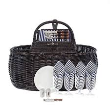 Picnic Basket Set For 4 Picnic Backpack For 4 By Mister Alfresco Stylish Black Color With