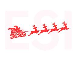 santa sleigh and reindeer santa sleigh and reindeers svg dxf eps christmas svg files