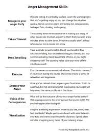 anger management skills worksheet therapist aid