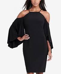 lauren ralph lauren jersey bell sleeve cold shoulder dress