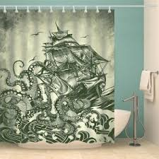 Sailboat Shower Curtains Colormix W59 Inch L71 Inch Nautical Sailboat Octopus Polyester