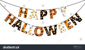 halloween orange black banner greetings happy stock vector