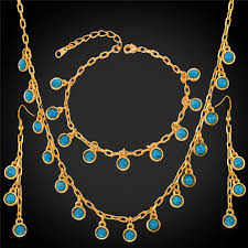 gold necklace bracelet earrings set images Buy trendy jewelry green stone necklace bracelet jpg