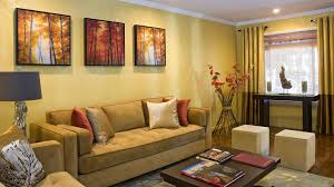wonderful living room with tufted sectional sofa and yellow color