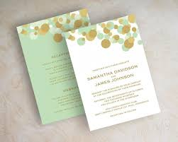 mint wedding invitations mint green and gold polka dot wedding invitations wedding