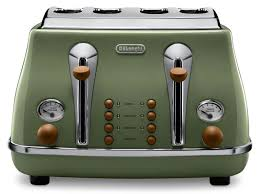 Green Kettles And Toasters Vintage Icona Green 4 Slice Toaster Delonghi New Zealand