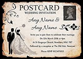 wedding invitations black and white black white vintage rustic postcard personalised wedding