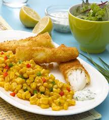 bâtonnets de poisson pané et maïs poêlé recette géant vert