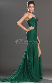 mermaid strapless long dark green velvet chiffon prom dresses