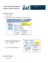 Optimal Resume Builder Optimal Resume Basic Administration How To Guide