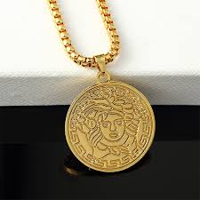gold medallion necklace images Head athena avatar pendant necklace 24k gold plated rhinestone jpg