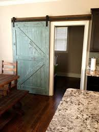 36 X 80 Interior Door Sliding Barn Door Reclaimed Pine Turquoise White Distressed