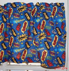 Blue Valance Curtains Super Hero Wam Pow Blue Valance Curtain Comic Book Curtain