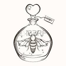 hand drawn engraving sketch of bee in the bottle with honey