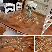 gathering for dinner around a custom stenciled dining room table