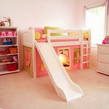 white painted mahogany wood kid beds with wooden slide using