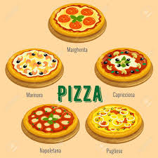 cuisine types pizza sorts cuisine menu card vector icons of pizza