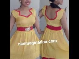 sew party frock dress gawn fusion boat neck belt pleats on waist