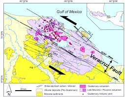 Mexico Volcano Map by The Neogene Veracruz Fault Evidences For Left Lateral Slip Along