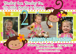 2nd Birthday Invitation Card Monkey Birthday Theme Monkey Love Invite Birthday Photo Invite