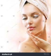 spa woman beautiful after bath stock photo 108948605