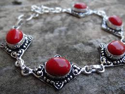 red stone bracelet images Reserved sterling silver natural red coral gemstone bracelet jpg