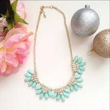 light blue statement necklace jewelry light blue petals rhinestone statement necklace poshmark