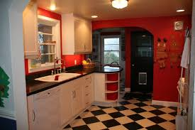 Red And Black Kitchen Tiles - simple remodel chess floors can change the game
