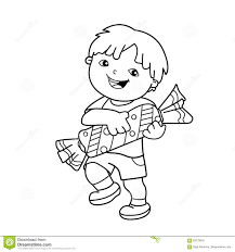 coloring page outline of cartoon boy with with candy coloring