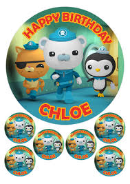 octonauts cake toppers personalised octonauts 7 5 6 x 2 edible cupcake cake toppers