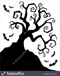 illustration of spooky silhouette of halloween tree