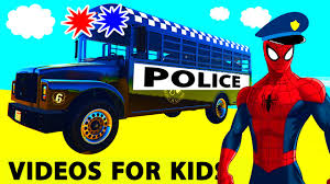 party bus clipart policeman spiderman cartoon on police bus and cars for kids and