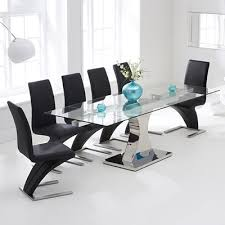Ambrose Glass Extending Dining Table With  Harvey Black Airs - Black dining table for 10