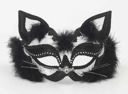 white mardi gras mask black and white cat mardi gras mask white