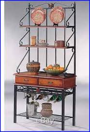 Metal Bakers Rack With Wine Storage Bakers Rack With Drawers Wine Storage Black Kitchen Plant Stand