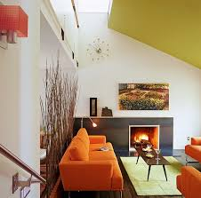 retro home interiors ravishing living space with orange sofa and chair also wooden