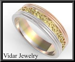 Platinum Comfort Fit Wedding Band Mens 3 Tone Wedding Band Vidar Jewelry Unique Custom
