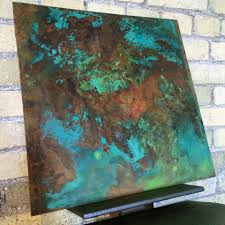 copper patina kitchen backsplash sample for our second full scale