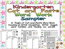 free kindergarten cut and paste word work sampler by melissa williams
