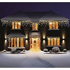 White Icicle Lights Outdoor Bravich Indoor Outdoor 240 Warm White Led Icicle Lights