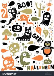 Cute Halloween Monsters by Cute Halloween Monsters Stock Vector 35809132 Shutterstock