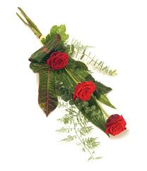 Flowers For Funeral A Classic And Elegant Sheaf Of 3 Roses And Complementary Foliage