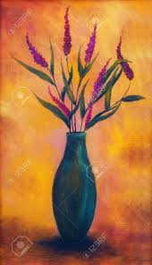 flowers in a vase dryed up on bright orange background oil