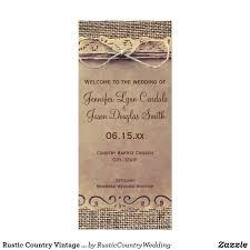 burlap wedding programs rustic country vintage burlap wedding program wedding programs