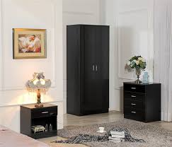high gloss black bedroom furniture 3 piece set wardrobe chest