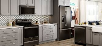 gray kitchen cabinets with black stainless steel appliances whirlpool appliances black stainless w light gray cabinets