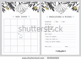 wishes for baby cards baby shower bingo template predictions stock vector 503946583