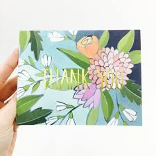 floral foil thank you floral foil card by one canoe two k a artist shop